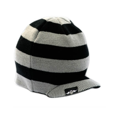 Born to Love Beanie -Black/Grey Stripe (014)-