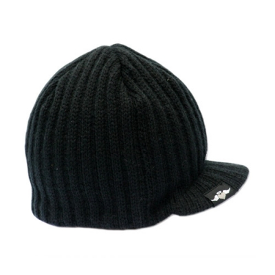 Born to Love Beanie - Black Ribbed w tag (016)-