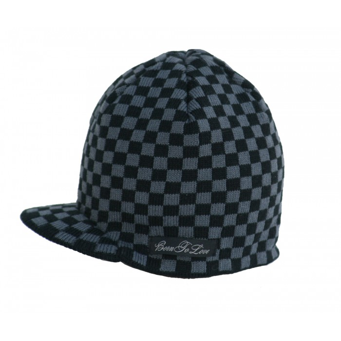 Born to Love Beanie Checkered-