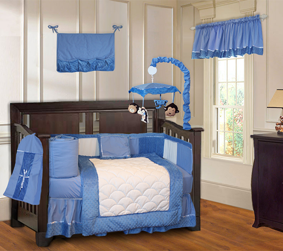 Blue Minky  Crib Bedding Set-crib, bedding, sheets