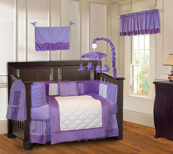 Purple Minky Bedding Crib Set-crib, bedding, sheets