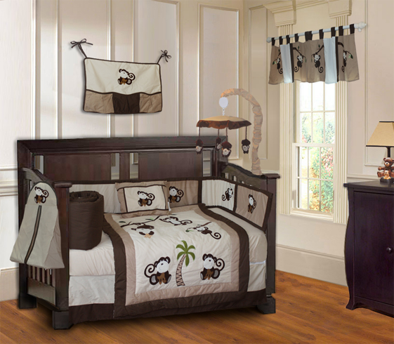 Monkey Crib Bedding Set-