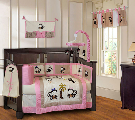 Girl Monkey Crib Bedding Set-