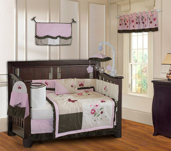 Pink Blossom crib bedding set-