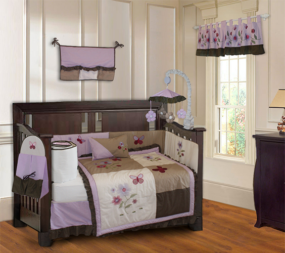 Purple Blossom crib bedding set-