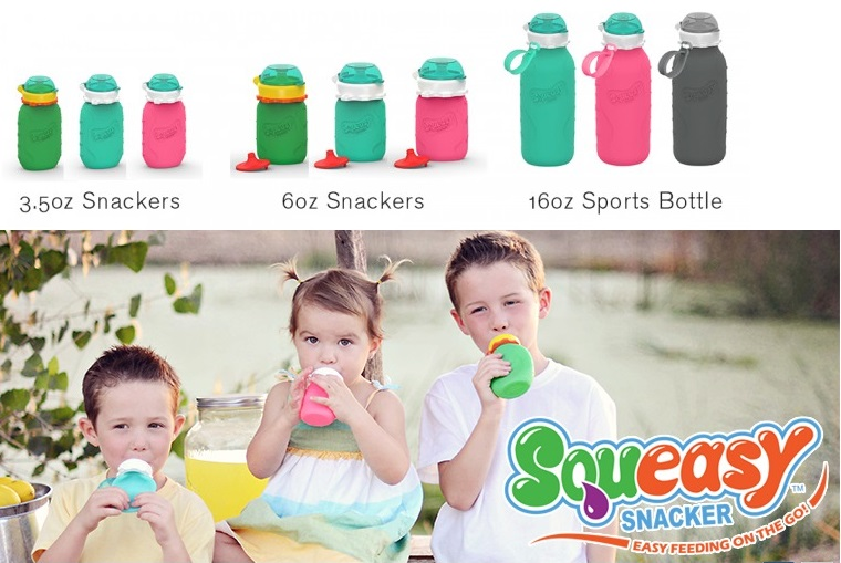 Squeasy Gear-silicone, food pouch, water bottle, resueable
